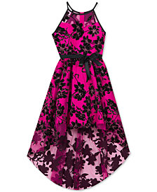 Rare Editions Big Girls Glitter-Flocked Illusion-Neck Dress
