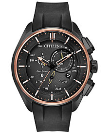 Citizen Eco-Drive Men's Chronograph 100th Anniversary Proximity Pryzm Black Polyurethane Strap Watch 48mm - A Limited Edition