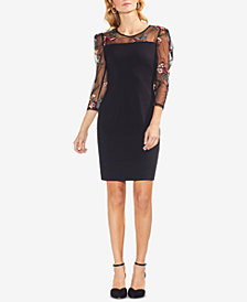 Vince Camuto Embroidered Mesh-Sleeve Dress