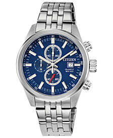 Citizen Men's Quartz Chronograph Stainless Steel Bracelet Watch 43mm
