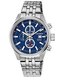 Citizen Men's Quartz Chronograph Stainless Steel Bracelet Watch 43mm