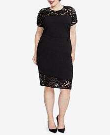 RACHEL Rachel Roy Trendy Plus Size Lace-Trim Sheath Dress