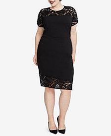 RACHEL Rachel Roy Trendy Plus Size Lace-Trim Sheath Dress