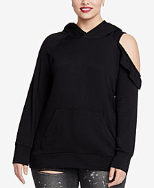 RACHEL Rachel Roy Trendy Plus Size Cold-Shoulder Hooded Sweatshirt