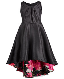 Bonnie Jean Big Girls Floral-Print Lined Shantung Dress