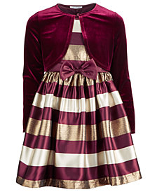 Bonnie Jean Big Girls 2-Pc. Striped Dress & Shrug Set