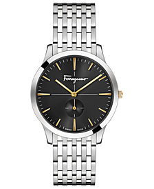 Ferragamo Men's Swiss Slim Formal Stainless Steel Bracelet Watch 40mm