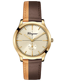 Ferragamo Men's Swiss Slim Formal Brown & Orange Leather Strap Watch 40mm
