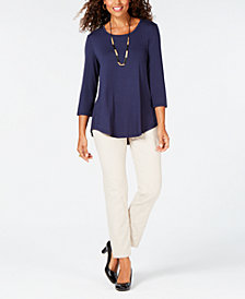 JM Collection Scoop-Neck Top & Pull-On Slim Pants, Created for Macy's