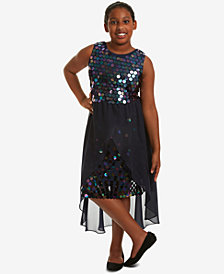 Rare Editions Big Girls Plus Sequin Overlay Party Dress