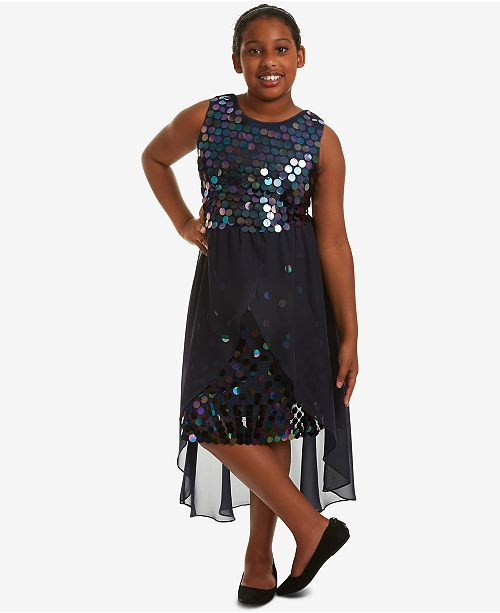Rare Editions Big Girls Plus-Size Sequin Overlay Party Dress ...