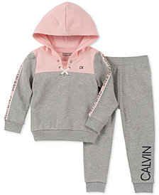 Calvin Klein Little Girls 2-Pc. Fleece Hoodie & Jogger Pants Set