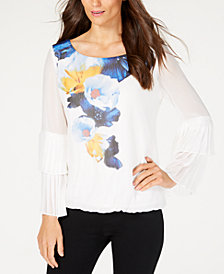 Alfani Petite Pleated-Sleeve Print Top, Created for Macy's