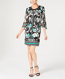 JM Collection Printed Chiffon-Sleeve Sheath Dress, Created for Macy's