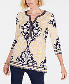 JM Collection Split Neck Embellished Tunic, Created for Macy's