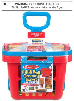 Melissa & Doug Fill & Roll Grocery Basket Play Set