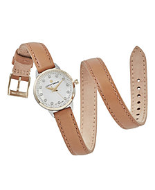 Lucky Brand Women's Torrey Mini Tan Wrap Leather Strap Watch 28mm