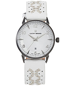 Lucky Brand Women's Ventana Embroidered White Leather Strap Watch 34mm
