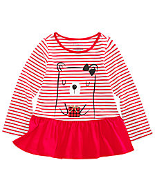 First Impressions Toddler Girls Striped Bear-Print Cotton Peplum T-Shirt, Created for Macy's
