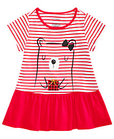 First Impressions Toddler Girls Striped Bear-Print Cotton Peplum Tunic, Created for Macy's