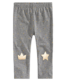 First Impressions Baby Girls Star-Print Knee-Patch Leggings, Created for Macy's
