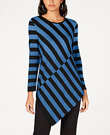 Alfani Colorblocked Asymmetrical-Hem Tunic Sweater, Created for Macy's