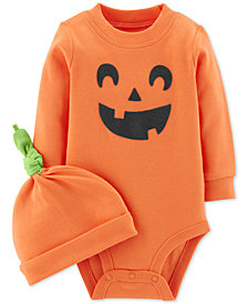 Carter's Baby Boys & Girls 2-Pc. Pumpkin Cotton Hat & Bodysuit Set