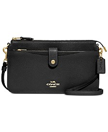 COACH Pebble Pop Up Crossbody Wallet in Pebble Leather