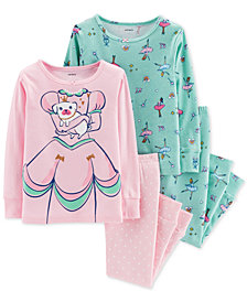 Carter's Baby Girls 4-Pc. Snug-Fit Cotton Princess Pajamas Set