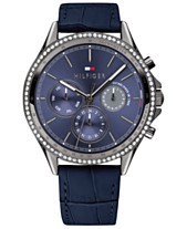 b49b9b6b Tommy Hilfiger Women's Blue Leather Strap Watch 38mm, Created for Macy's