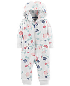 Carter's Baby Girls Floral-Print Hooded 1-Pc. Jumpsuit