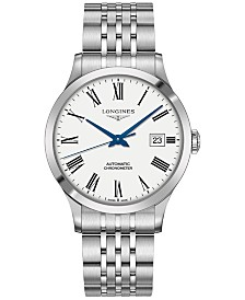Longines Men's Swiss Automatic Record Collection Stainless Steel Bracelet Watch 40mm