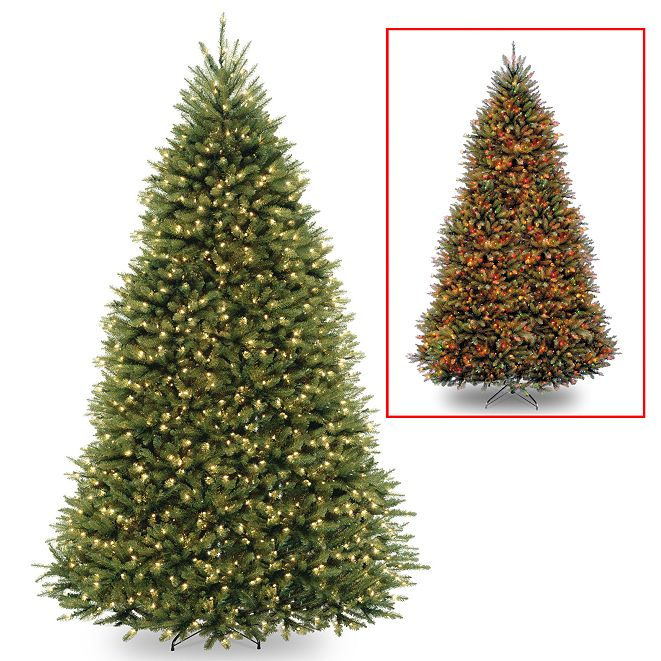 National Tree Company National Tree 9' Dunhill Fir Hinged Tree with 900 Dual Color(R) LED Lights + PowerConnect System-9 Functions