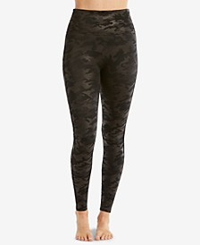 Petite Camo Faux-Leather Leggings