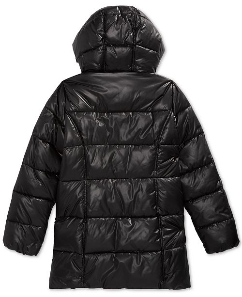 28fc0592ce3d3 ... Michael Kors Big Girls Hooded Stadium Puffer Jacket with Faux-Fur Trim  ...