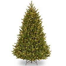 National Tree 6 .5' Natural Fraser Medium Fir Hinged Tree with 800 Clear Lights