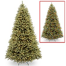 "National Tree 9' ""Feel Real"" Down Swept Douglas Fir Hinged Tree with 900 Low Voltage Dual LED Lights"
