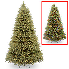 """National Tree 9' """"Feel Real"""" Down Swept Douglas Fir Hinged Tree with 900 Low Voltage Dual LED Lights"""