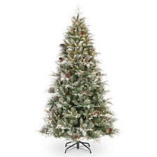 National Tree 7 .5' Feel Real  Frosted Mountain Spruce Hinged Tree with Cones & 750 Clear Lights+ PowerConnect™