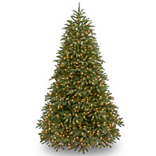 "National Tree 7 .5' ""Feel Real"" Jersey Fraser Medium Fir Hinged Tree with 1000 Clear Lights"