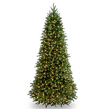 """National Tree 9' """"Feel Real"""" Jersey Fraser Fir Slim Hinged Tree with 1000 Clear Lights"""