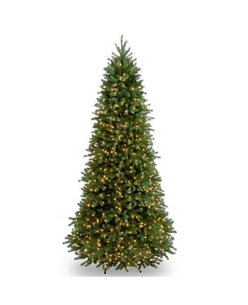 """National Tree Company National Tree 9' """"Feel Real"""" Jersey Fraser Fir Slim Hinged Tree with 1000 Clear Lights"""