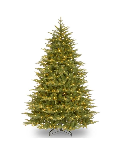 """National Tree Company National Tree 9' """"Feel Real"""" Nordic Spruce Medium Hinged Tree with 1100 Clear Lights"""