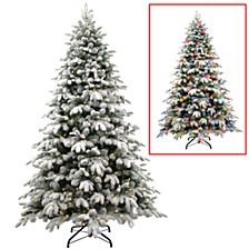 National Tree 7 .5' Snowy Avalanche Tree with 750 Dual Color LED Lights