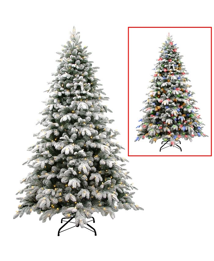 National Tree Company - National Tree 7 .5' Snowy Avalanche Tree with 750 Dual Color LED Lights