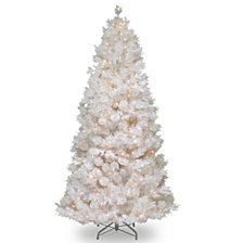 National Tree 7 .5' Wispy Willow Grande White Slim Hinged Tree with Silver Glitter 500 Velvet Frost White Lights-UL