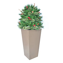 "National Tree Company 48"" Glistening Pine Porch Bush with Pine Cones, Red Berries, Twigs & 70 Clear Lights"