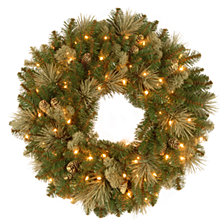 """National Tree Company 24"""" Carolina Pine Wreath with 10 Flocked Cones and 50 Clear Lights"""