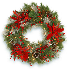 "National Tree Company 30"" Decorative Collection Tartan Plaid Wreath with Cones Red Berries & Poinsettias 100 WarmWhite Battery Operated LED's w/Timer"