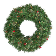 National Tree Company 36 Glistening Pine Wreath with Pine Cones, Red Berries, Twigs & 100 Warm White Battery Operated LED Lights w/Timer